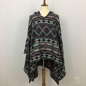 Tribal Print Flannel Poncho Cape Hoodie NWT